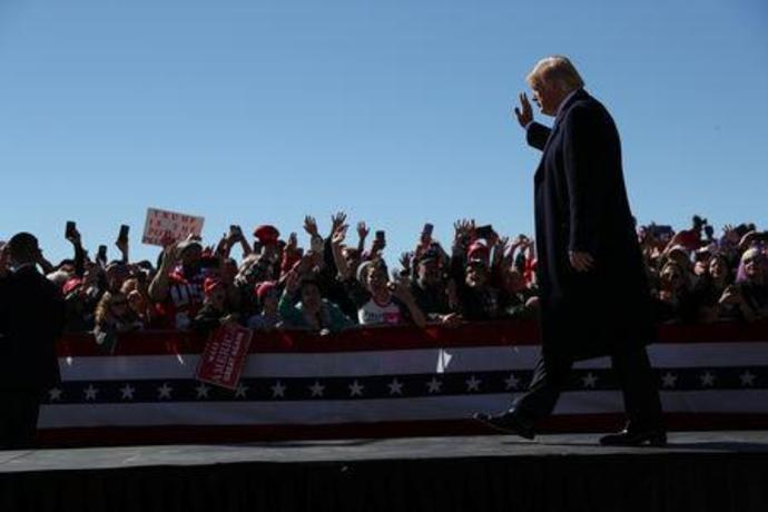 President Donald Trump hosts a campaign rally at Elko Regional Airport in Elko Nevada