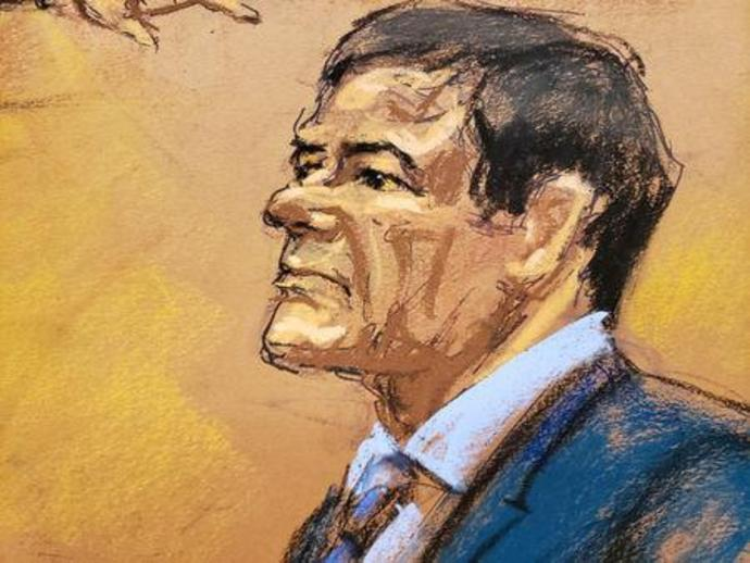 "The accused Mexican drug lord Joaquin ""El Chapo"" Guzman is seen during his trial in this courtroom sketch in Brooklyn federal court in New York City"