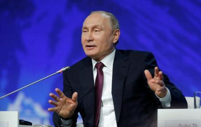 Russian President Putin attends the International Arctic Forum in Saint Petersburg