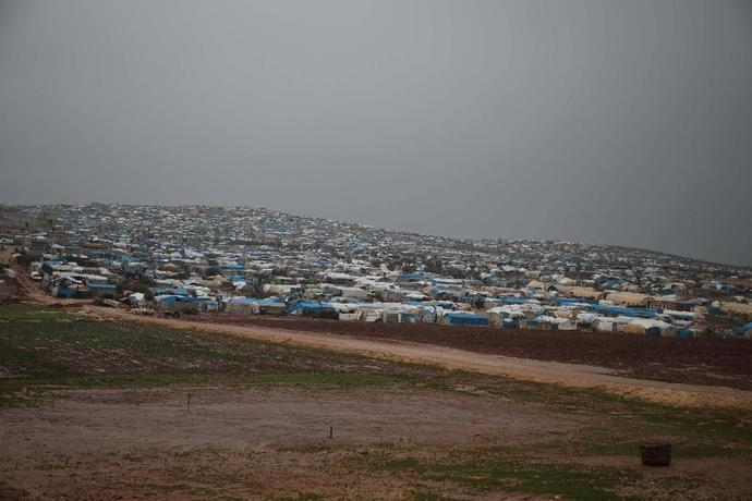 A general view of a camp for displaced people in the village of Atme, in Syria