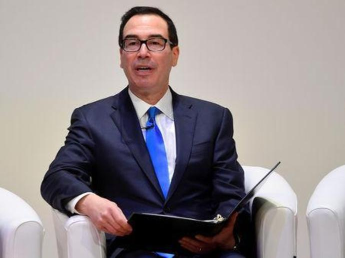U.S. Secretary of the Treasury Steven Mnuchin speaks at the Jordan Growth and Opportunity Conference in London