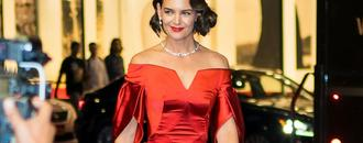 Katie Holmes Stuns in Glam Red Look After Latest Outing With Jamie Foxx