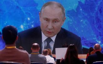 Vladimir Putin was speaking to journalists on Thursday via a video link - Maxim Shemetov/Reuters