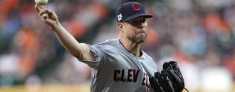 Kluber throws off mound for 1st time since breaking arm