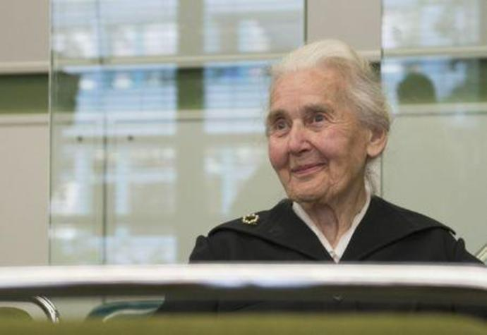 FILE PHOTO - Ursula Haverbeck, accused of denying the holocaust, sits in a courtroom in Berlin