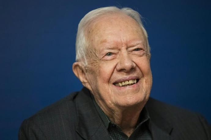 Former US President Jimmy Carter, pictured in March 2018, had just left the hospital last week following surgery to relieve pressure on his brain