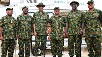 President Buhari and the heads of Nigeria armed forces