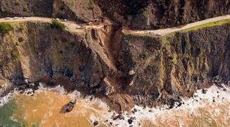 A section of the Pacific Coast Highway is seen from above after it collapsed into the Pacific Ocean near Big Sur, Calif.