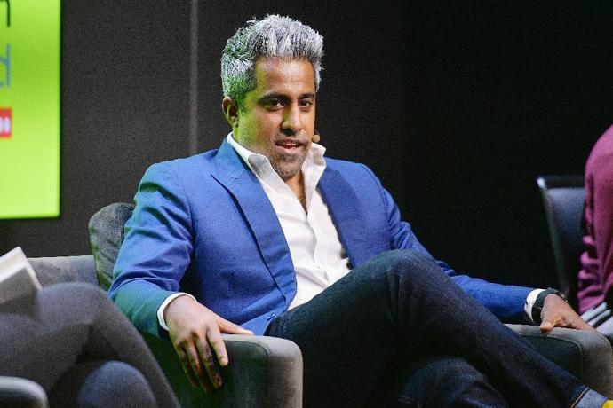 Anand Giridharadas speaks at the WIRED25 Festival in California in October 2018
