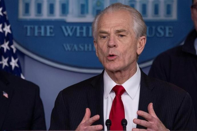 White House Trade and Manufacturing Policy Director Peter Navarro -- pictured on March 22, 2020 -- has accused China of crippling the US economy