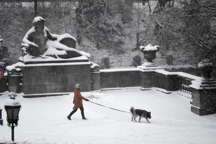 Woman walks her dog in the snow as stricter lockdown measures are in place to contain the spread of the COVID-19, in Munich