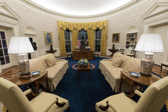 The Oval Office of the White House is newly redecorated for the first day of President Joe Biden