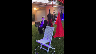 A Halloween display outside the Miami Springs home of Dr.