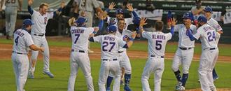 Cubs celebrate first walk-off win of 2020 in socially distant fashion