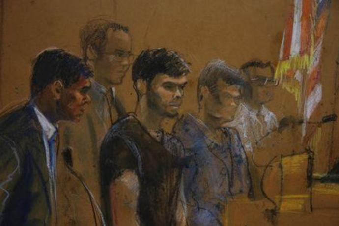 A courtroom sketch shows defendants Martin Shkreli and Evan Greebel during their arraignment in New York