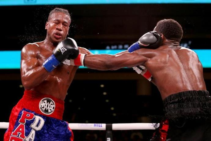 Patrick Day, here exchanging punches with Charles Conwell in their super welterweight bout in Chicago on October 12, 2019, has died of brain injuries suffered in his knockout defeat