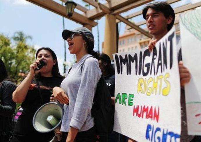 Protestors demonstrate against the termination of the Deferred Action for Childhood Arrivals (DACA) program outside the 9th Circuit Court of Appeals in Pasadena