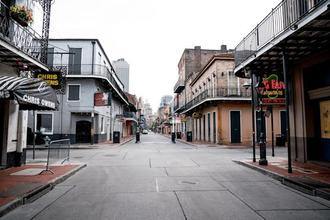 Typically filled with people, Bourbon Street is seen nearly empty on the first day of Jazz Fest 2020, in New Orleans, Louisiana on April 23, 2020.