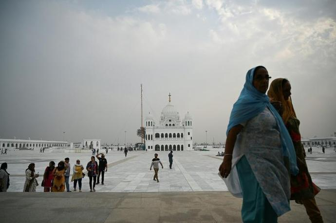 The shrine to Guru Nanak, the founder of Sikhism, lies in the Pakistani town of Kartarpur, near the Indian border