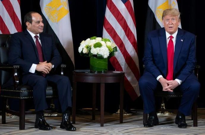 US President Donald Trump and Egyptian President Abdel Fattah el-Sisi meet on the sidelines of the United Nations General Assembly in September 2019