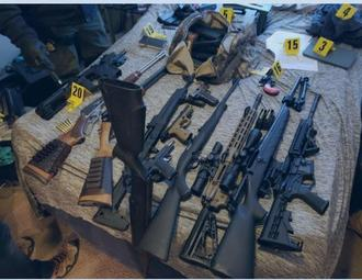 An image of the arsenal found in one suspect