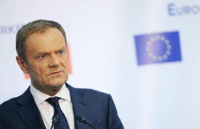 European Council President Donald Tusk makes a statement at Euxinograd residence, near Varna