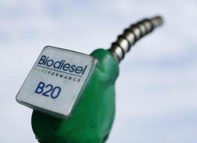 Photo illustration of a fuel nozzle from a bio diesel fuel pums at a filling station in San Diego