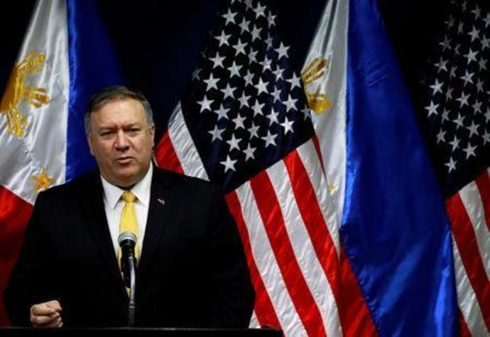 U.S. Secretary of State Mike Pompeo speaks to the media at the Department of Foreign Affairs in Pasay City