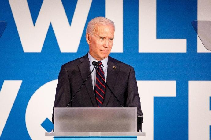 A poll in the early voting state of Iowa gives a significant lead to former US vice president Joe Biden in the race for the Democratic presidential nomination, with 24 percent support; he is seen here at a June 6, 2019 event in Atlanta