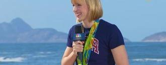Watch Katie Ledecky swim with chocolate milk balanced on her head