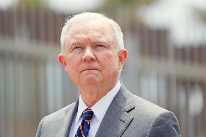 FILE PHOTO:    Sessions during news conference next to the U.S. Mexico border wall near San Diego
