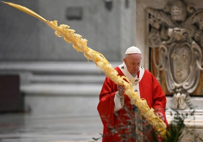 Pope Francis celebrated Palm Sunday mass behind closed doors at St Peter