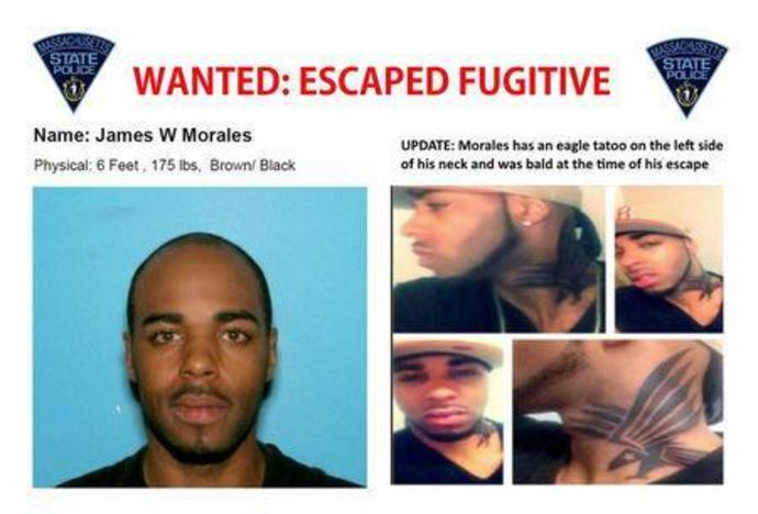 A wanted poster distributed by the Massachusetts State Police of James Morales