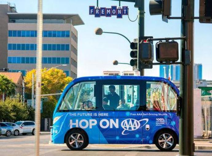 Handout photo of the first public self-driving shuttle, launched as a pilot project sponsored by AAA and Keolis is shown in downtown Las Vegas