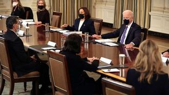 PHOTO: President Joe Biden and Vice President Kamala Harris meet with cabinet members and immigration advisors in the State Dining Room, March 24, 2021, in Washington, DC.