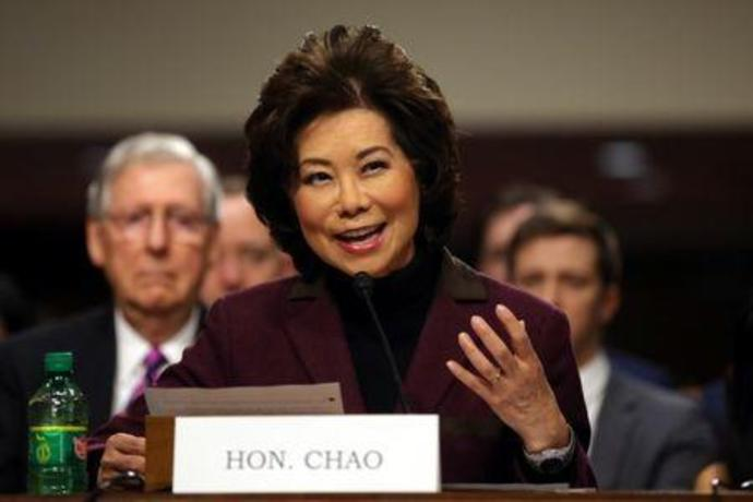 Elaine Chao testifies before a Senate Commerce Science and Transportation Committee confirmation hearing on her nomination to be transportation secretary on Capitol Hill in Washington, U.