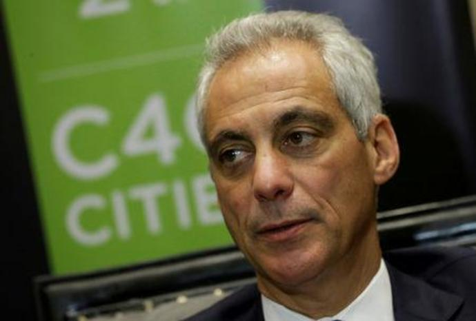 FILE PHOTO: Chicago Mayor Rahm Emanuel speaks during an interview with Reuters after taking part at the C40 Mayors Summit at a hotel in Mexico City