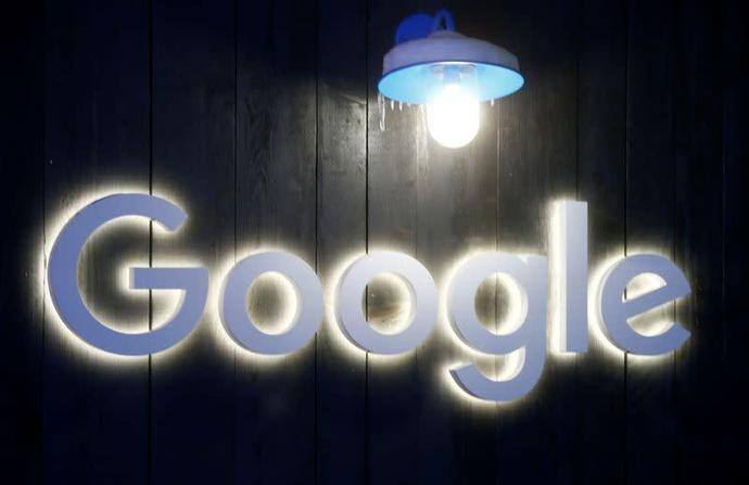 Logo of Google is seen in Davos