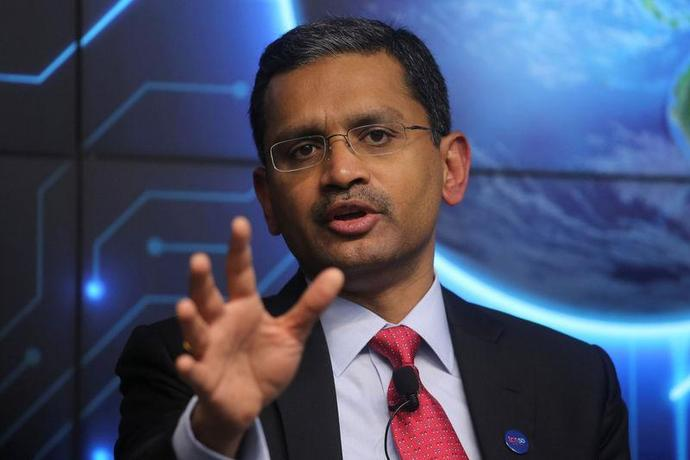 Tata Consultancy Services (TCS) Chief Executive Officer Rajesh Gopinathan attends a news conference announcing the company