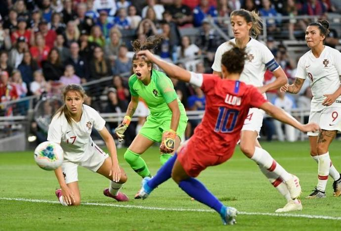 Carli Lloyd fires the United States into the lead against Portugal in a 3-0 friendly win