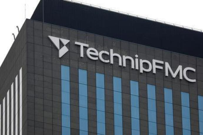 The logo of energy engineering group TechnipFMC is seen on top of the company