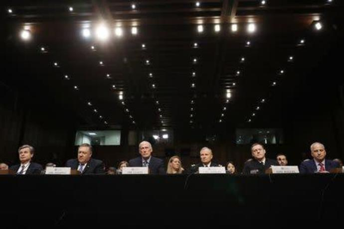 "U.S. security chiefs testify before Senate Intelligence Committee hearing on ""worldwide threats"" on Capitol Hill in Washington"