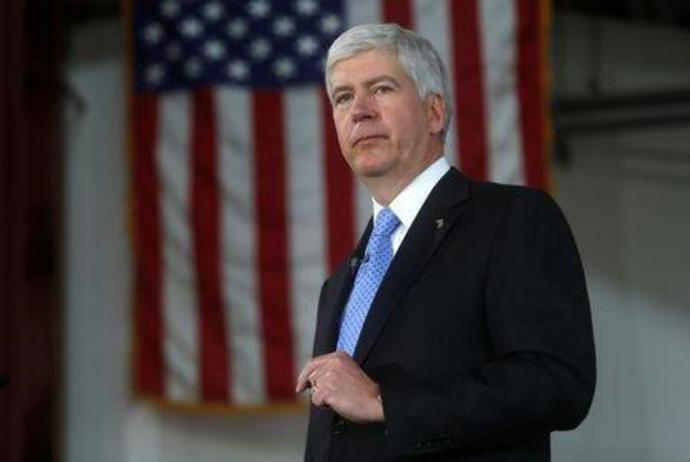 Michigan Governor Rick Snyder at a bill signing event in Detroit