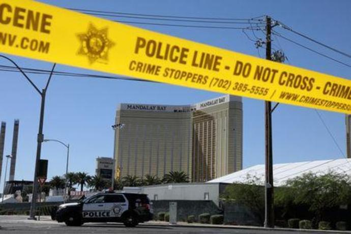The site of the Route 91 music festival mass shooting is seen outside the Mandalay Bay Resort and Casino in Las Vegas