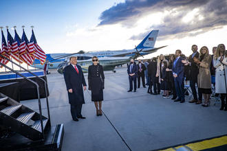 Then-President Donald Trump and first lady Melania Trump at Joint Base Andrews, Md.