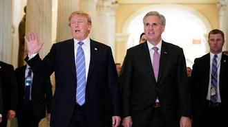 President Trump and House Minority Leader Kevin McCarthy (R-Bakersfield) in 2018. (Mandel Ngan / AFP/Getty Images)