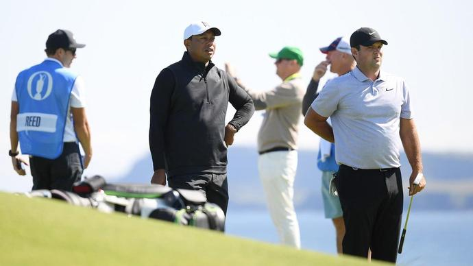 Woods arrives at Portrush for practice round with Reed