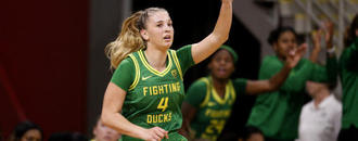 Ionescu leads No. 3 Oregon past LBSU with Kobe courtside