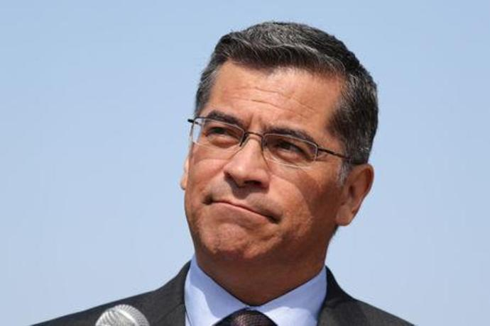 FILE PHOTO: California Attorney General Xavier Becerra speaks about President Trump