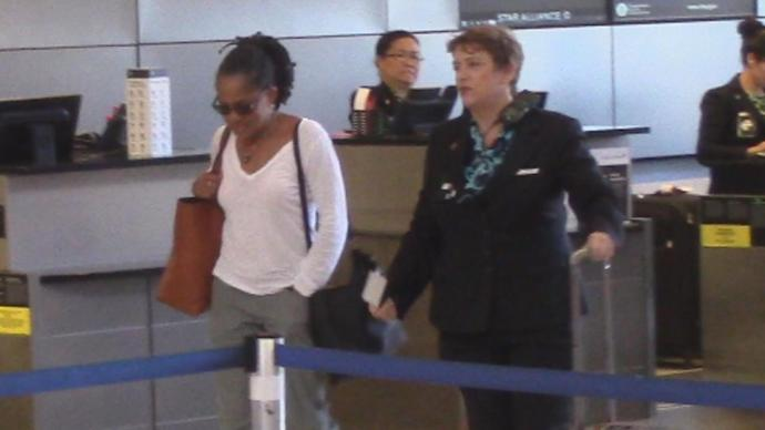 Ragland was spotted at LAX while on her way to visit her royal daughter.